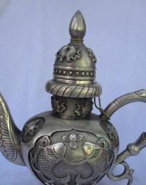 Old Teapots UK - Collectible Decorated Old Handwork Tibet Silver Carved fish Handle Teapot Flagon fast shipping 00007