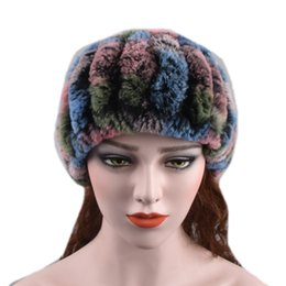 $enCountryForm.capitalKeyWord Australia - Women Real Handmade Stretch Scarf Knit Genuine Rex Rabbit Headbands Girls Natural Fur Ring Cowl Snood Scarves Winter