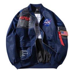 Toptan satış NASA Ceket Dış Giyim NASA Uçuş Pilot Bombacı Erkek Tasarımcı ceketler Erkekler Kadınlar WINDBREAKER Beyzbol Coat Erkek Ceket SizeXLgooes