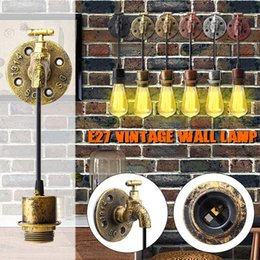 wall light fittings Australia - NEWRST E27 Vintage Industrial Rustic Wall Sconce Wall Light Fixture Fitting Water Pipes Style 5