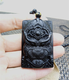 Black Bead Pendants Australia - Natural obsidian Black Obsidian Tiger Necklace Pendant Hand-Carved Lucky Big Tiger Amulet Pendant Mens Jewelry With Free Beads Chain