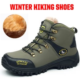 warm waterproof winter sneakers NZ - Men Snow Boots With Fur Winter Warm Hiking Trekking Shoes For Man Outdoor Casual Ankle Basic Boots Waterproof Leather Sneakers