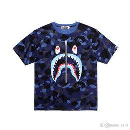 Zipper Teeth Australia - 19SS Japanese New Men's T-shirt Shark Mouth Printed Pure Cotton False Zipper Teeth Printed Camouflage Short Sleeve T-shirt Summer Dress