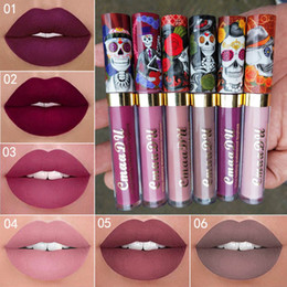 $enCountryForm.capitalKeyWord NZ - CmaaDu Lip Makeup 6 Color Matte Liquid Lipstick Skull Style Waterproof Long Lasting Sexy Glitter Lip Gloss Beauty Red Tint