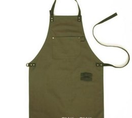 Catering Kitchens Australia - Army Green Canvas Style Aprons Catering Kitchen apron Unisex Woman Men Male Lady Cooking Restaurant Barista Work Apron