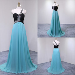 $enCountryForm.capitalKeyWord Australia - Aqua Blue One Shoulder Empire Prom Dresses Beaded Straps Chiffon Formal wear Evening Gowns Cheap Country Bridesmaid Dress For USA Women 2018