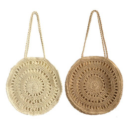 PaPer shoulders online shopping - Ins Popular Flower Paper Rope Woven Shoulder Bag Fashionable Ladies Beach Bag Summer Holiday Totes Straw Handmade Women Bags