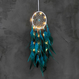 $enCountryForm.capitalKeyWord NZ - Handmade LED Light Dream Catcher Feathers Car Home Wall Hanging Decoration Ornament Gift Wind Chime Craft
