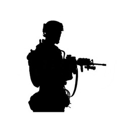 Silver Car Decoration UK - 13*15cm army solider shooting decals decoration for car and laptop black silver CA-399
