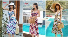 $enCountryForm.capitalKeyWord Australia - 2019 Women Bikini Beach Resort Hot Spring Three-piece Swimsuit Bathing Suits Swimwear Striped Shawl With Chest Pad ZH0061