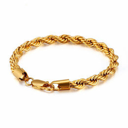 gold twisted chains for men 2019 - 316L Stainless Steel Twisted Chain Bracelet for Men 21cm Black   Silver  Gold Link Chain Men Bracelet Simple Jewelry Chr