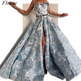 $enCountryForm.capitalKeyWord UK - Arabic Muslim Style Evening Dresses 2019 Long A-Line Strapless High Split Sexy Evening Prom Party Gowns With Sash And Beads