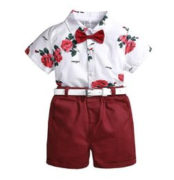 $enCountryForm.capitalKeyWord UK - Kids Boys Clothing Sets Children Clothing Set Summer Baby Boy Clothes Flower Tie T Shirts + Shorts + Belt 3PCS Suit