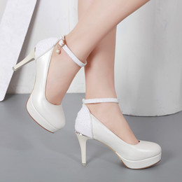 dress black top white work UK - Fashion Design Ladies work Shoes Top Quality Sexy Women 8Cm Mid High Heel platform girls Dress Shoes
