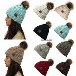 $enCountryForm.capitalKeyWord Australia - 9Colors Winter Female Ball Cap Poms Winter Hat For Women Girl 'S Hat CC Knitted Beanies Cap Hat Thick Women'S Skullies Beanies Pom