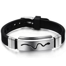 Gel bracelets online shopping - Silicone Bracelet Silica Gel Boys Bracelet Cuff Bangles For Men L Stainless Steel Bangles Snake Pattern