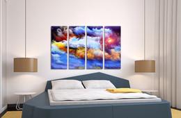Unframed Canvas Prints Australia - 1 Piece Unframed Poster Colorful Universe Abstract Canvas Wall Art Nebula Picture Prints 30cmx80cmx4pcs   ART-13