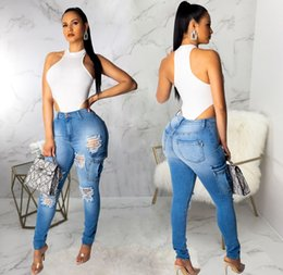 Girl jeans hiGh waist online shopping - Women Washed Hole Jeans Fashion Designer High Waist Skinny Girls Slim Blue Womens Ripped Trousers