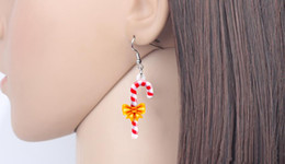 Jewelry teens online shopping - Acrylic Christmas Sweet Candy Cane Earrings Drop Dangle Cute Ornaments Jewelry For Women Girls Teens Gift Accessories New