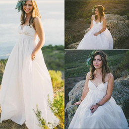 Empire Style Wedding Gowns Australia - 2019 Maternity Beach Wedding Dresses Sexy Plus Size Spaghetti Straps Beaded Pearls Ivory Taffeta Country Style Empire Bridal Gowns