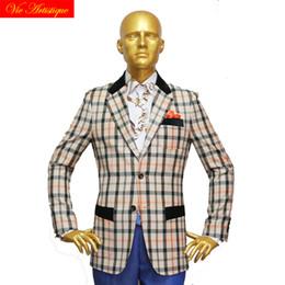 $enCountryForm.capitalKeyWord NZ - custom tailor made Men's bespoke suits business formal wedding ware bespoke 2 piece (Jacket+Pants) beige plaid wool slim fit 19