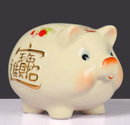 Ceramic Pig Banks Australia - Ceramic ornaments beige pig piggy bank piggy bank creative gift birthday gift cute large lucky fortune