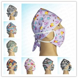 Discount doctors mouth mask Floral Nurse Cap Doctor Hat and Mask Two Piece Set Unisex Washable Protective Cotton Face Masks Anti Dust Mouth-muffle M