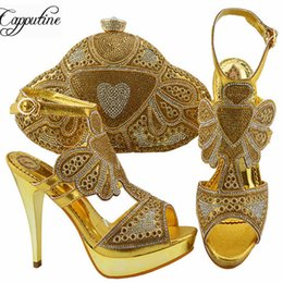 Chinese  wholesale Africa Rhinestone Woman Shoes And Bag Set For Summer Elegant High Heels Shoes And Bag Set For Party 6Colors On Stock manufacturers