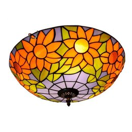 Blue glass ceiling light tiffany glass dome ceiling lamp bedroom 40CM sun flower retro stained glass lights TF053 on Sale