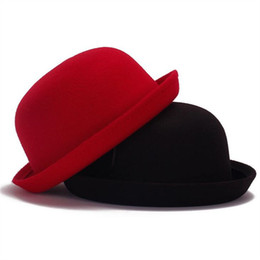 Retail Little girls fedora hat Dome cap Children dress hats Kids caps felt  hats wool felting Bowler hat 7119bd20ed7a