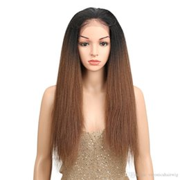 """Brown Straight Wig Part Australia - Free Parting 1b 30# Ombre Brown 26"""" Long Straight Synthetic Hair Lace Front Wigs For Black Women Yaki lace Wig With Baby Hair"""
