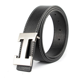 Discount real leather men - Luxury Designer H Brand Designer Belts Men High Quality Male Genuine Real Leather Women Buckle Strap for Jeans Red