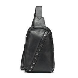 $enCountryForm.capitalKeyWord Australia - New Korean Version Of The Trend Baitao Oblique Bag Black Pu Breast Bag Young Men Single Shoulder Wicker Nail