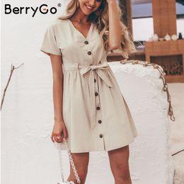 c437fcded Sexy v-neck women dresses linen dress Vintage short sleeve button sash mini dress  Casual streetwear summer dress vestido
