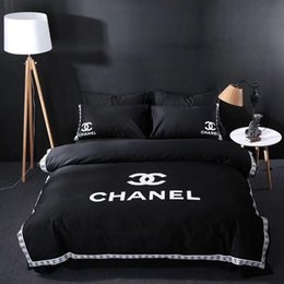 Logo King Australia - Black Simple Embroidery Bedding 5PCS Suit New All Cotton 40s Pop Logo Bedding Suit Fashion Cotton Bed Cover Suit For People