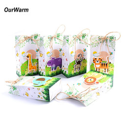 Cartoons Baking Australia - OurWarm 12Pcs Cartoon Animals Theme Candy Box for Kids Birthday Party Decorations Supplies Paper Party Favor Boxes Gift Bag C18112701