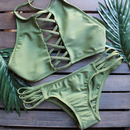 Discount cross colours - Bikini 2019 Women Cross Bandage Swimwear Hollow Out Halter Swimsuit String Strappy Push Up Bikini Set Swimsuit Triangle