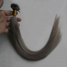 Nail Tip Human Hair Extensions Australia - 100Strands gray Remy Human Fusion Hair U Nail Tip Natural Pred Bond Keratin Human Hair Extension 100g
