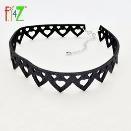 Clearance sale Faux Leather Choker Fashion Simple Black Velvet hollow heart  false collar choker Necklace for women collar Bijoux e80f2578cb9d