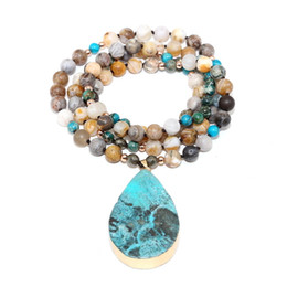 $enCountryForm.capitalKeyWord Australia - Ocean Natural Stone Pendant Wrap Braid Yoga Macrame For Men Women Energy Necklace Drop Shipping J190615