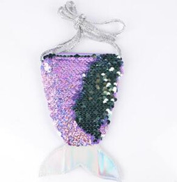 wholesale embroidered makeup bags NZ - Mermaid Tail Coin Purse Crossbody Money Sequins Glitter Change Card Holder Bag Makeup Bags Girls Pouch Bag B4234 Wallet Storage Totes P Jmjl