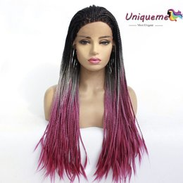 $enCountryForm.capitalKeyWord Australia - Black Grey Red Ombre Wig Synthetic Lace Front Wigs High Temperature Fiber Glueless Lace Wigs Synthetic Hair For African American Black Women