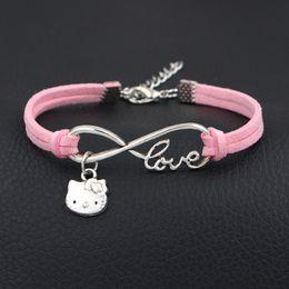 $enCountryForm.capitalKeyWord NZ - Simple Style Braided Light Pink Leather Rope Bracelets Bangles Handmade Weave Infinity Love Hello Kitty Cat Wristband Jewelry Women Men Girl
