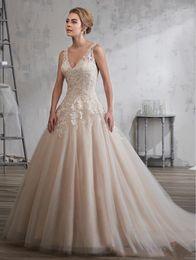 $enCountryForm.capitalKeyWord NZ - Grace Champagne Tulle V-Neck Applique Beads A-Line Wedding Dresses Bridal Gowns Bridal Party Dresses Custom Size 2-18 KW129038