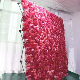 Wholesale Artificial flower wall panels stand DIY decor for wedding backdrop folding display rack shelf easy to carry sizes available