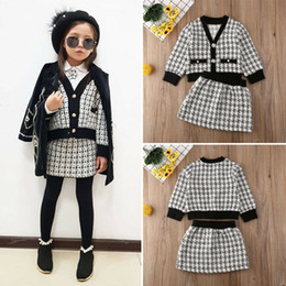 vintage baby girl clothes wholesale NZ - 2PCS Winter Warm Kids Baby Girls Vintage Plaid V Neck Coat & Tutu Skirt Party Formal Outfits Clothes Costume