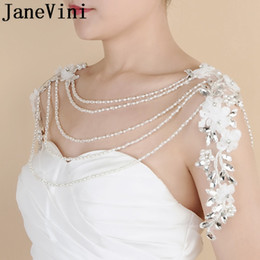 JaneVini Strass Crystal Bridal Necklace Fashion Wedding Spalla catena lunga collane Sposa fatti a mano fiori Lace-Up Wrap scialle in Offerta