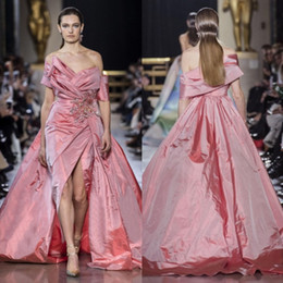 $enCountryForm.capitalKeyWord Australia - Pink Ellie saab Beaded Overskirt Prom Dresses Off The Shoulder A Line Appliqued Formal Dress Taffeta Side Split Evening Gowns