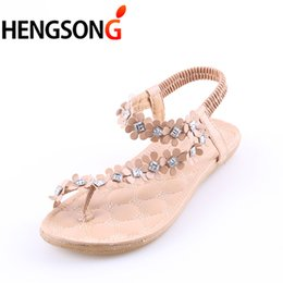 2019 Summer Women Sandals Fashion Bohemian Floral Sandalias Female Casual  Thong Flats Shoes Crystal Rhinestone Sandal Back Strap 2fa3e9e846cb