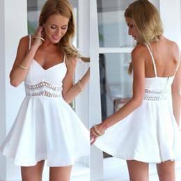 $enCountryForm.capitalKeyWord Australia - 2019 summer hot style black and white 2 color sexy lace stitching big swing halter dress fashion short dress
